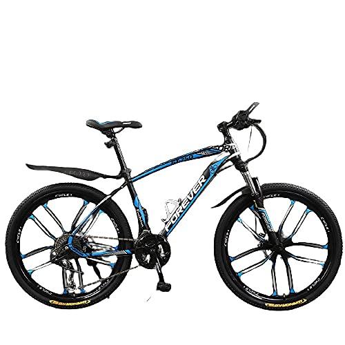 Bicicleta, Niños Y Niñas, Fuerte Veloz Rápido, Vehículo Todoterreno De La Montaña-Diez Rueda De Cuchillo Azul Negro_26 Pulgadas 30 Velocidades,Bicicleta De Montaña Eléctrica