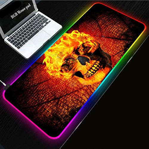 Mouse Pads Flame Skull RGB Led Gaming Mouse Pad XL Glowing Colorful Mousepad with USB Cable Keyboard Non Slip Mouse Mat (11.8x31.5x1.57) inch