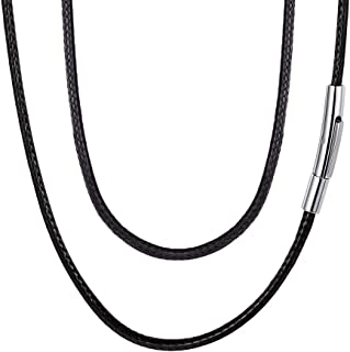Braided Leather Cord 2MM/3MM Chain Necklace Stainless Steel Durable Snap Clasp, Men Women DIY Waterproof Woven Wax Rope Chain for Pendant (Gift Packaging)