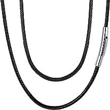 ChainsPro Collier Cuir Homme,Cordon pour Pendentif,Cordon Cuir pour Collier,Corde Tress/é Cha/îne Largeur 3MM-Collier en Cuir Noir//Brun Longuer 16-30 41//46//51//55//61//66//71//76cm avec Coffret Cadeau