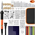 Foxgro Wood Burning Kit, 79pcs Pyrography Pen Set with Adjustable Temperature Switch, Woodburning Tool Kit - Embossing/Carving/Soldering Tips/Stencils/Color Pencils/Carbon /Holder/Carrying Case