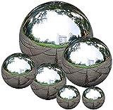 Edelstahl Gazing Ball, 6 Stück 50-150mm Spiegelpolierte Hohlkugel Reflektierende Gartenkugel Schwimmende Teichkugeln Nahtlose Gazing Globe für Haus Garten Ornament Dekorationen