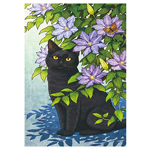 MXJSUA 5D Diamond Painting by Number Kit Full Drill Picture Forniture Arts Craft Home Wall Sticker Decor Flower Black Cat 30x40cm