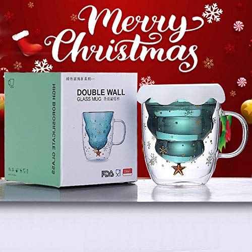 Christmas Mugs Cute Coffee Cup Snowflake Double Walled Glass Tree Mug with Lid for Couple Valentine's Christmas Day Romantic Birthday Gifts (Green)