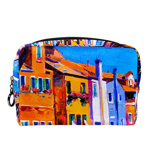 Cosmetic Bag Womens Makeup Bag for Travel to Carry Cosmetics,Change,Keys etc Vintage Color City
