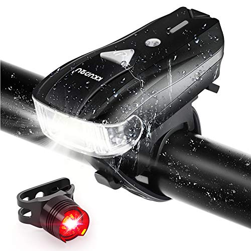 Bike Lights Auto Adjustable Light 500 Lumens Bicycle Light Front and Back, USB Rechargeable Super Bright Headlight and Flashing Rear Light, IPX64 Waterproof, Easy to Install with All Accessories