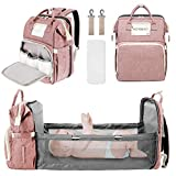Baby Diaper Backpack, Insulated Bottle Warmer Newborn Registry for Baby Shower Gifts, Portable Nappy...