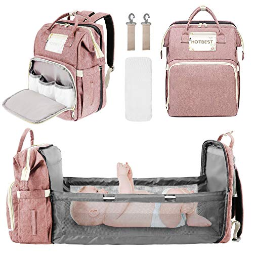 Baby Diaper Backpack, Insulated Bottle Warmer Newborn Registry for Baby Shower Gifts, Portable Nappy Bags for Girls Boys, Multifunction Travel Stuff Maternity New Mom Gifts for Women (Pink)