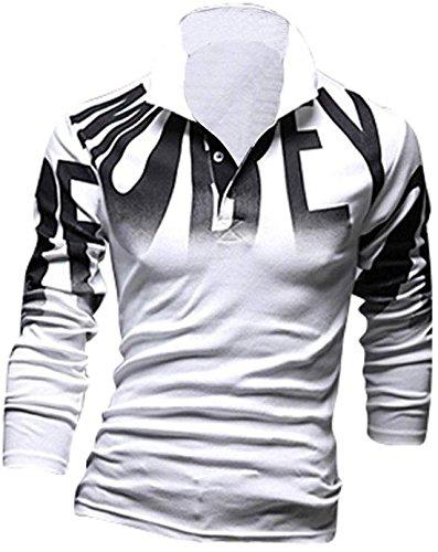 jeansian Herren Freizeit Hemden Shirt Tops Mode Langarmshirts Slim Fit 7403 White M