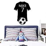 Camiseta De Fútbol 3D Nombre Personalizado Etiqueta De La Pared Pvc Extraíble Decoración Del Hogar Niños Casa Vinilo Arte Calcomanía 57X78Cm
