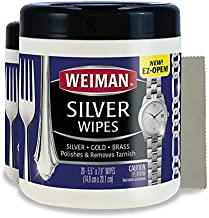 Weiman Jewelry Polish Cleaner and Tarnish Remover Wipes - 20 Count (2 Pack) with Polishing Cloth - Use on Silver Jewelry Antique Silver Gold Brass Copper and Aluminum