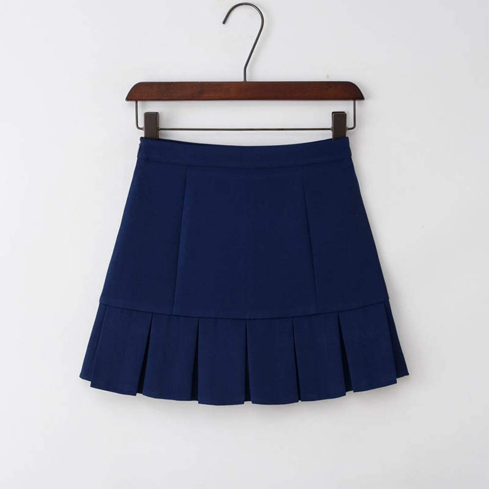 HEHEAB Falda,Azul Oscuro con Pliegues Cintura Alta Lolita Una ...