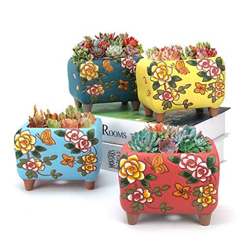 Summer Impressions Blumentopf für Sukkulenten und Kaktus, handbemalt, Ton, Blumentopf, Pflanzgefäß, Blumen-Design, mit Ablaufloch, 4 Stück (rechteckig)