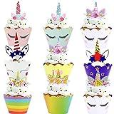 WENTS 48 pcs Einhorn Mini Cupcake Toppers und...