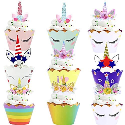 WENTS 48 pcs Einhorn Mini Cupcake Toppers und Wrappers Verpackung Beidseitig Handmade für Kinder Party Kuchen Dekorationen Geburtstag Deko