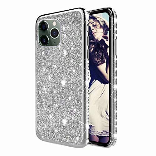 TYWZ Strass Hülle für iPhone 11 Pro,Glitzer Diamant Glanz Bling Mädchen Case Cover Ultra-Slim Stoßfeste Anti-Rutsch Silikon Schutzhülle-Silber