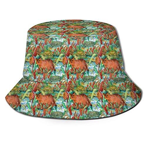 Sombrero Toad Turtle Reed Cat and Bulrush Gorra para el Sol Sombrero para Exteriores Protección Solar UV Sombrero de Cubo Plegable Ligero Transpirable Unisex Negro