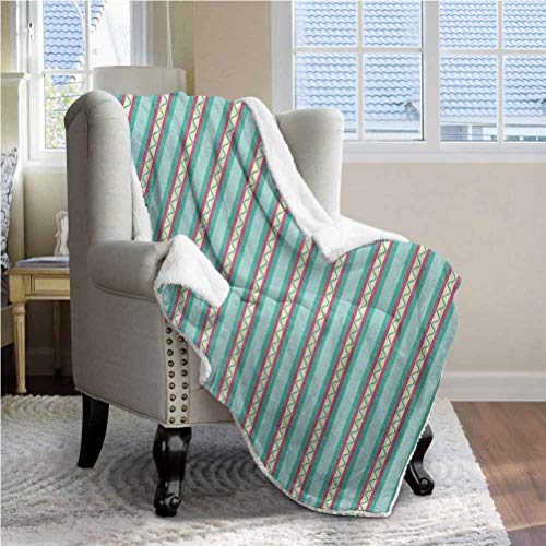 ParadiseDecor 50'x65' Geometric Sherpa Throw Blankets Comfort Caring Gift Vertical Lines Straight Stripes with Curled Shapes Vivid Pattern Abstract Design Multicolor