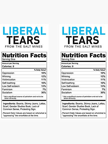 Liberal/Democrat Tears Funny Joke Supplement Facts - Sticker Graphic - Political Funny Bumper Sticker for Cars Windows Trucks