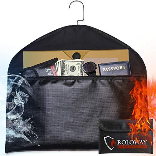 ROLOWAY Hanger Diversion Fireproof Safe with Small Fireproof Bag - Hidden Safe Compartment for Home & Travel - Secret Safe for Money Stash, Cash Hiding - Water Resistant Pocket Safe Under Clothes