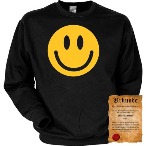 trag-das Cooles Biker Sweatshirt + Ukunde - Motiv Smiley Face - Sweater Herren Motorrad Pullover Pulli Geschenk Weihnachten Geburtstag