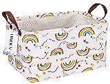 ONOEV Rectangular Folding Laundry Basket, Canvas Basket,Nersury Hamper,Suitable for Children,Office,Bedroom,Clothes,Toys Storage(Rainbow)