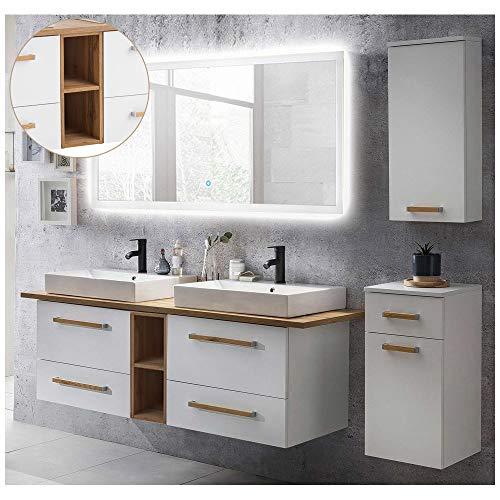 Lomadox Badmöbel Komplett Set, weiß mit Eiche hell,165cm Doppel Keramik-Waschtisch, 140cm LED-Spiegel, Unterschrank und Hängeschrank