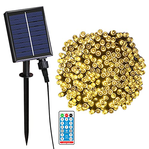 AUTOLA Solar Fairy Lights Outdoor- 100ft 200 LED Solar Garden String Lights 8 Modes Remote Control Waterproof Solar Decorative Lights for Patio Fence Party Christmas