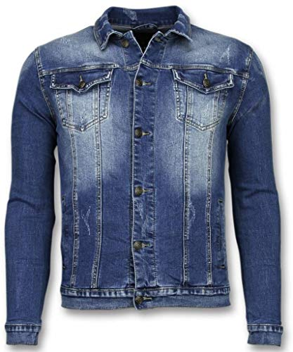 Spijkerjasje - Stone Wash Spijkerjasje Heren Denim Jacket - Blauw