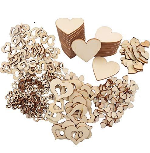 ANKKY beihuazi® 440 STK Holzherzen Hochzeit Herzen Holz Deko 8 Typ für Tischdeko Hochzeitdeko Streudeko DIY Handwerk Verzierungen Naturholzscheiben
