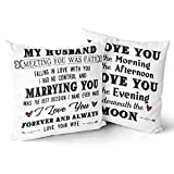 Granbey 2PCS My Husband Meeting You was Fate Pillow Cover I Love You Forever and Always Throw Pillow Case Love Letter Pillow Cushion Covers Fashion Home Decor Great Sweet Gift for Lover 18x18 in