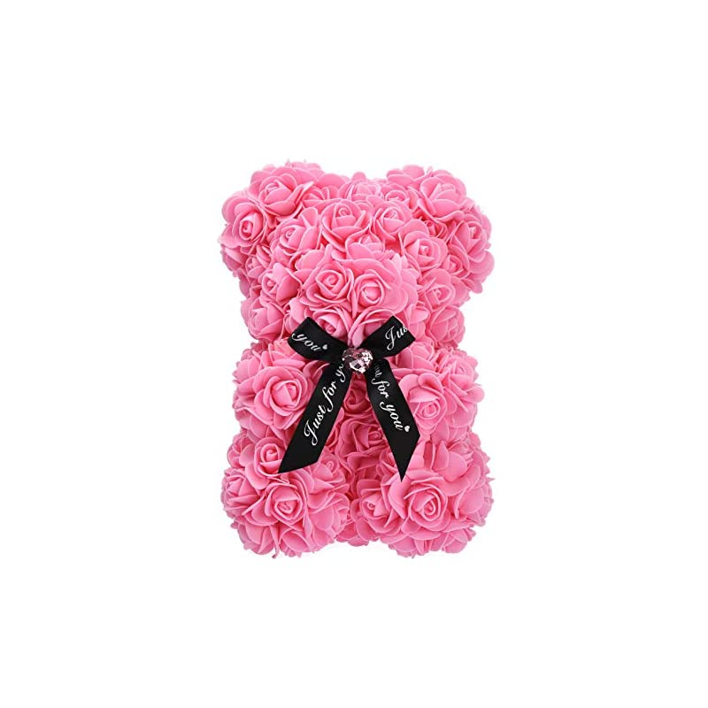 silk flower arrangements yanqi rose teddy bear gift hand made artificial flowers rose bear with box gift idea for mothers day, valentines day, anniversary & bridal showers weddings (pink)