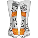 ouyjian Bichon Frise Happy Pills Personalized Socks Sport Athletic Stockings 30cm Long Sock For Men Women
