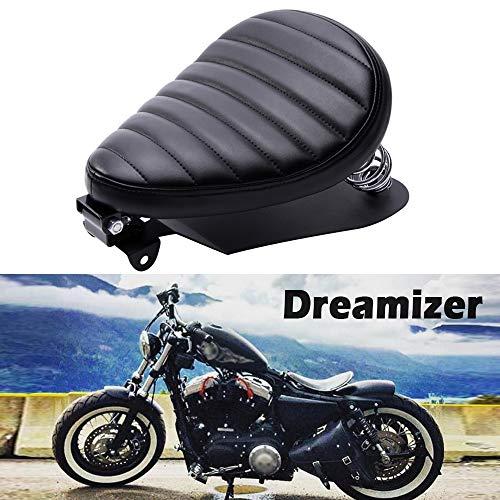Dreamizer Schwarz Dick Motorrad Bobber Sitz, Motorrad Solo Sitz für Sportster XL883 1200 Dyna Street Bob Chopper Custom