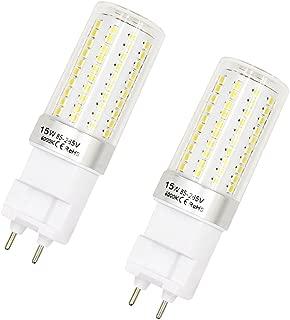 15W G12 LED Corn Light Bulb Lustaled 120V LED G12 Base Corn Flood Light Bulb Lamps 360 Degree Beam Angle for Home Street Garage Warehouse Landscape Lamp (Daylight 6000k, 2-Pack)