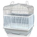 Aloces Cubierta para jaula de pájaros, ajustable, red de nailon, transpirable, suave, universitaria, para alimentación de aves y animales pequeños (blanco)