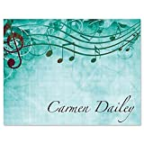 Sheet Music Aqua Personalized Note Card Set - Set of 24 cards with envelopes, 4-1/4' x 5-1/2' blank inside, Add a Name, Music Teacher Gift, Musician Gift, Thank You Card