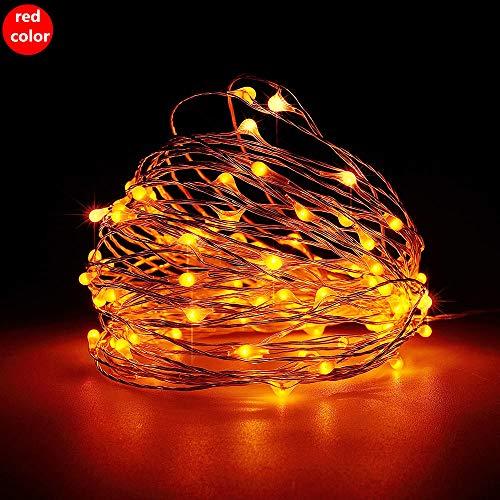 10 M zwarte draad USB koperdraad lantaarn, huisdecoratie Kerstboom hotel LED koperdraad lantaarn string-Red light_10 m