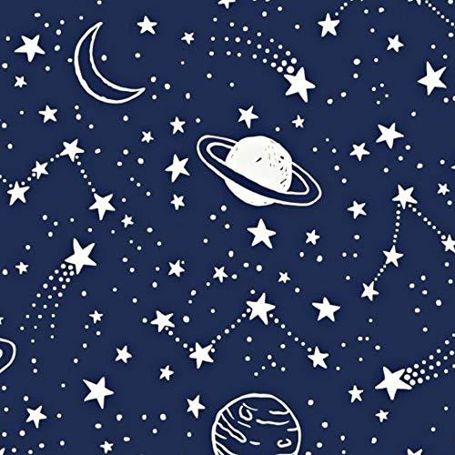 Pingianer - Tela de algodón con lunas para niños, 100 % algodón, por metros, artesanía, tela de costura, algodón, Planetas azul y blanco., 100x160cm (11,99€/m)