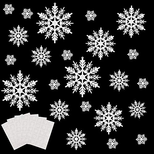 WXJ13 80 Pieces White Plastic Snowflakes Ornaments for Christmas Decoration, 5 Sizes, 1, 2, 3, 4, 6 Inches