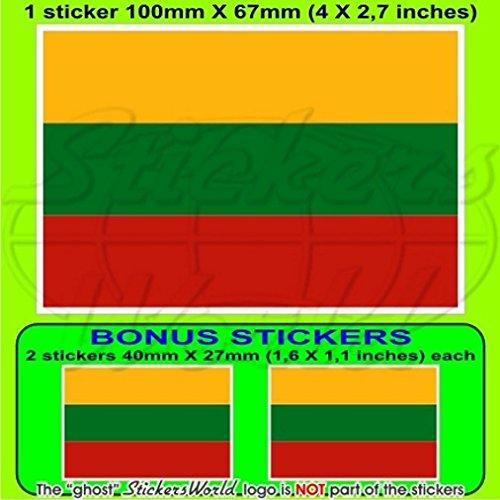 Drapeau Lituanie LITUANIEN 10,2 cm Bumper Sticker en vinyle (100 mm), en x1 + 2 Bonus