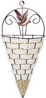 Natural Wicker Flower Basket Vase Rattan Wall Hanging Pot Planter Rattan Vase Basket Decor Planter,Brown