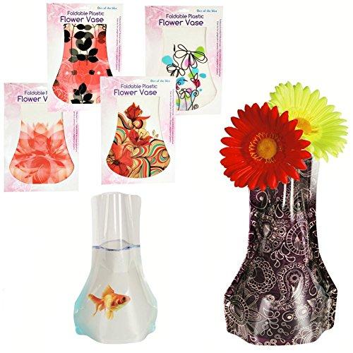 Faltbare-Kunststoff-Blumenvase-tolle-Motive