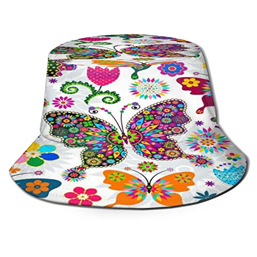 Outdoor Sun Hat Colorful Flowers Butterfly UV Protective Foldable Fishing Camping Traveling Caps for Women Black