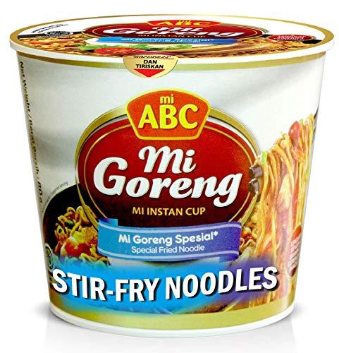 ABC Mi Goreng Stirfry Noodles Instant Cup, Noodle Bowl, Classic Authentic Flavor, Instant Noodles Ramen Quick Meals, Indonesian mi ABC noodles (12 cups)