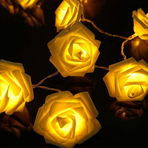 Edaygo LED Lichterkette Rosen batteriebetriebene Rosenlichterkette Innen Beleuchtung Dekoration Blumen Dekoleuchten, 20 LEDs, warmweiß