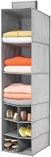 mDesign Estantería Colgante de Fibra sintética – Organizador de Tela para Colgar en el Dormitorio – Colgador de Armario con 9 Compartimentos para Ropa, Cinturones y Bolsos – Gris