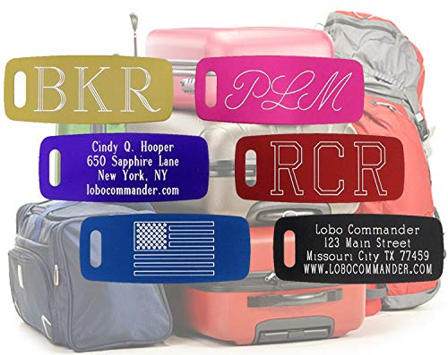 Lobo Commander Custom Aluminum Luggage Tag - Personalized & Engraved to Your Specifications - Up to 5 Lines of Text on Both the Front & Back - Great Gift for Adults & Kids Who Travel