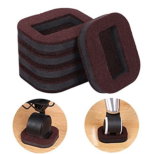 Ezprotekt Felt Pads Bottom Furniture Caster Cups, Protect Hardwood Floors Prevents Scratches, Value Pack, 16 Pack, Brown