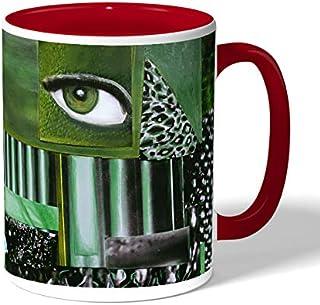 abstract art Coffee Mug by Decalac, Red - 19044